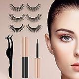 Magnetic Eyelashes&Magnetic Eyeliner Kit with Tweezers, Reusable, No Glue Needed, Waterproof, Easy to Apply