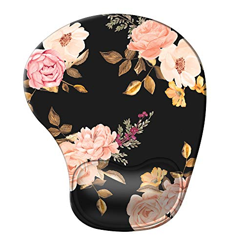 iCasso Ergonomic Mouse Pad with Gel Wrist Rest Support, Pain Relief Wrist Rest Pad with Lycra Cloth, Non-Slip PU Base, Easy Typing Mouse Pad for Office, Home, Laptop, Computer - Peony