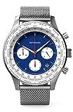 DETOMASO Firenze Chronograph Blue Herren-Armbanduhr Analog Quarz Mesh-Armband Silber