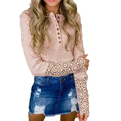 Blusa De Encaje con Botones Huecos De Color SóLido Y Cuello Redondo para Mujer De OtoñO E Invierno