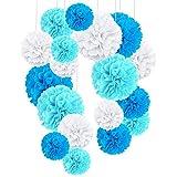 O-Kinee 24pcs Decoration Bapteme Garcon Bleu, Pompons Papier De Soie pour Décoration de Mariage Fête Baptème Baby Shower