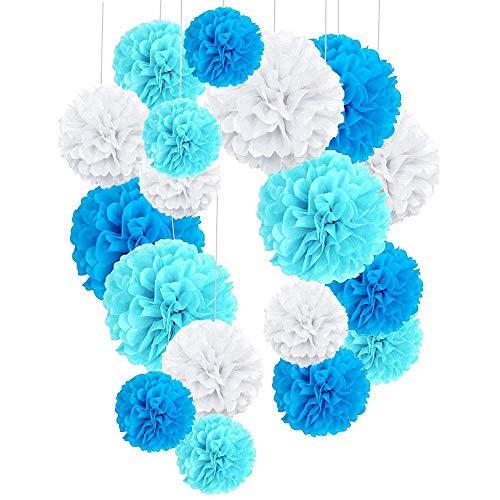 24pcs Decoration Bapteme Garcon Bleu, Pompons Papier De Soie pour Décoration de Mariage Fête Baptème Baby Shower