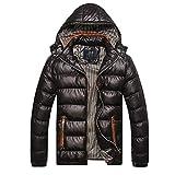 BIKETAFUWY Piumino leggero da uomo, trapuntato, con cappuccio, giacca invernale leggera per attività all'aperto, con cappuccio, giacca imbottita, Nero , M
