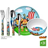 WMF Vicky el Vikingo - Vajilla para niños 6 piezas, incluye plato, cuenco y cubertería (tenedor, cuchillo de mesa, cuchara y cuchara pequeña) (WMF Kids infantil)