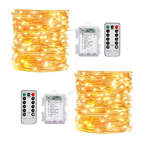 Fairy Lights, 2 Pack 33ft 100 LED Outdoor String Lights, Waterproof Battery Operated Copper 9 Lighting Modes, Chirstmas Party Bedroom Garden(Warm White)