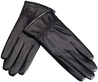 Ladies Leather Gloves Touch Screen Mittens Womens Soft Warm Velvety Lining Winter Gloves with Fold Design Decoration (Black)