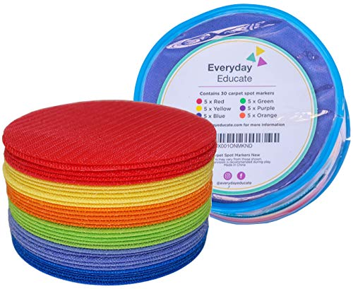Everyday Educate Carpet Markers Sitting Spots - Amazing Classroom Supply, Flexible Seating - 5' Diameter (30 Circle) - Makes Great Teacher Gift