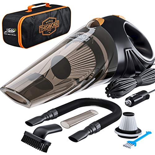 Portable Car Vacuum Cleaner: High Power Corded Handheld Vacuum w/ 16 foot cable  12V  Best Car amp Auto Accessories Kit for Detailing and Cleaning Car Interior
