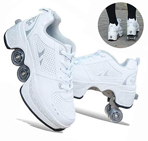 ZKK Zapatos con Rodillos Zapatos con Ruedas De Deformación Patines En Línea para Niños Zapatos para Andar En Monopatín Patines De Ruedas para Deportes Al Aire Libre,White-34
