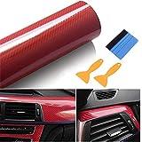 Stickers Pellicola per Auto 40 x 300CM 6D Carbonio Adesiva Foglio Rivestimento Adesivo di Vinile in Fibra di Carbonio per Auto (Rosso)