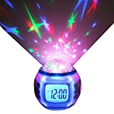 Sisdecor Star Projection LED Alarm Clock Color Change with Thermometer Music Timer Calendar for Children Toddlers Boys Girls