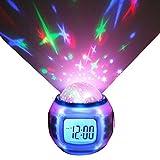Reloj de Alarma LED Cambio de Color con Star Termómetro de proyección Calendario de música Temporizador para niños Niños pequeños Niñas