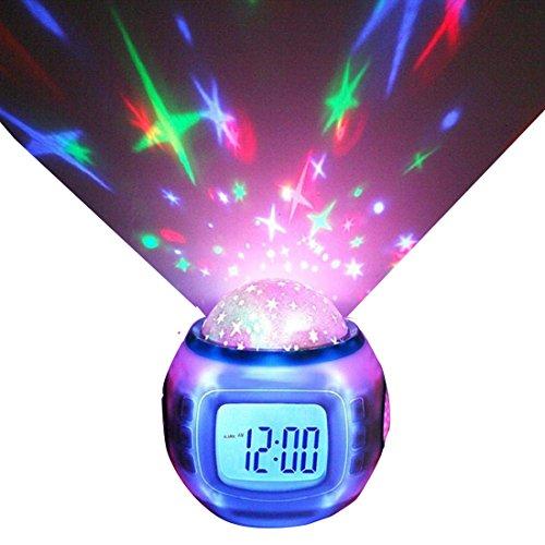 Led Digital Wecker mit Stern Projektor Musik Kalender Timer Thermometer für Kinder Kleinkinder Jungen Mädchen-Weiß