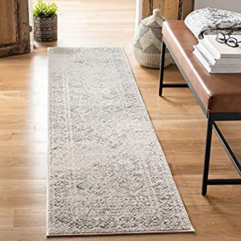 Safavieh Tulum Collection TUL264A Moroccan Boho Distressed Non-Shedding Stain Resistant Living Room Bedroom Area Rug 2  x 5  Ivory / Grey