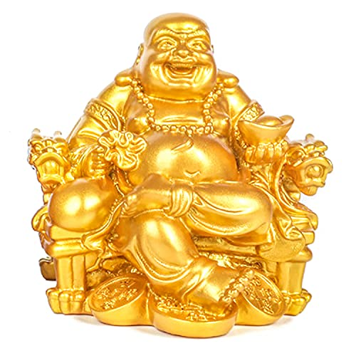 Talent Chinese Handicrafts Resin Laughing Buddha Sitting on Dragon Chair Sculpture Fengshui Wealth Lucky Statue Home Decoration Gift (B)