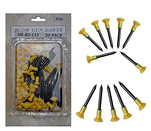 Eva Shop® Premium zerlegbares Präzisions Sport Blasrohr Blowgun Nadelpfeile Stahl Pfeile Darts Ersatzpfeile Blasrohrpfeile (50 Premium Stahl Nagelpfeile)