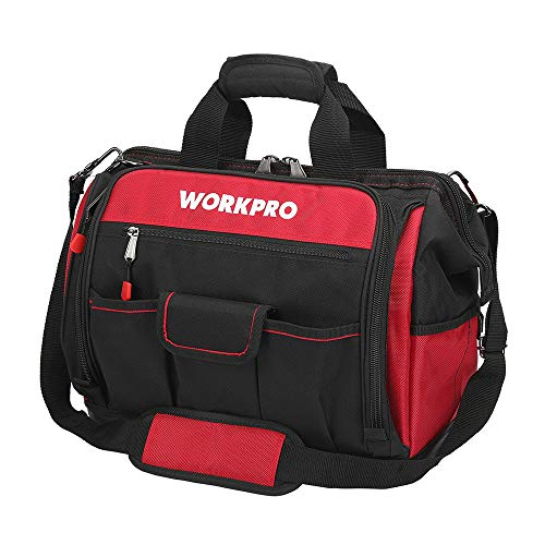 "WORKPRO 16"" Top Wide Mouth Tool Bag with Water Proof Rubber Base, Multi-Compartment, 46 Pockets, For Tool Organizer & Storage, W081122A"