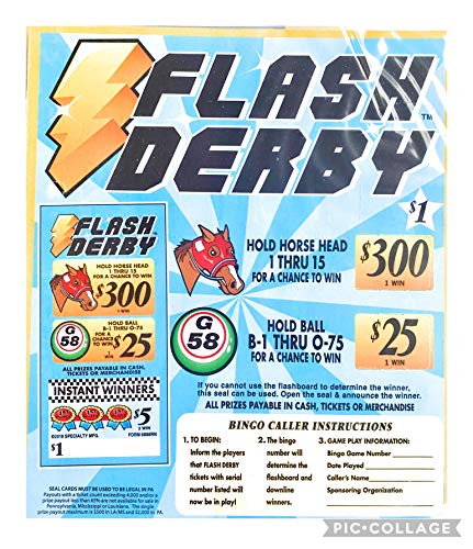 Flash Derby $300 Bingo Pull Tabs Games