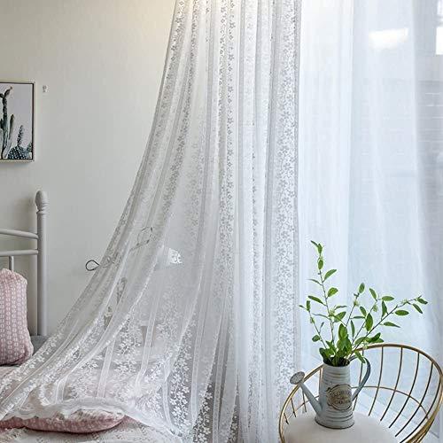 Fly scherm deur Pastorale Amerikaanse stijl Window screening White Embroidery vitrages Zonnescherm decoratieve Invisible zand gordijn (Color : White, Size : 350x265cm(138x104inch))