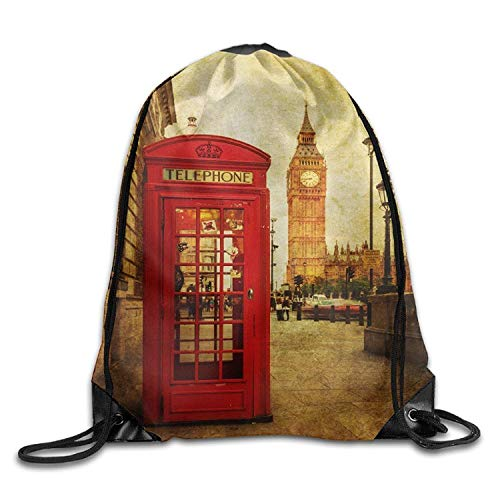 Etryrt-Bags Coulisse Sacchetto,Sacca Coulisse Zaino,Sacca Sportiva, London Phone Box Youth Drawstring Gym Sport Large Lightweight Sackpack
