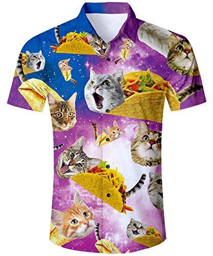 TUONROAD Casual Tropical Vacation Aloha Short Sleeve Boys Collared Colorful Hawaiian Shirt Funny Printed Pattern Pizza Cat Fitted Button Down Shirt Vintage Hawaiian Shirts,Cat