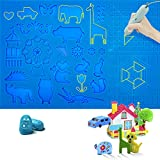 Sulela 3D Printing Pen Mat Large 16.5x10.5 in Silicone Mat with Various Cute Patterns and Basic Template, 3D Pens Accessories with 2 Fingers Protectors for Kids and 3D Beginners (Pen is not Included)