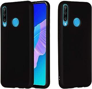 LENASH För Huawei Y7P / P40 Lite E ren färg flytande silikon stötsäker full täckning skyddsfall Fallskydd (Color : Black)