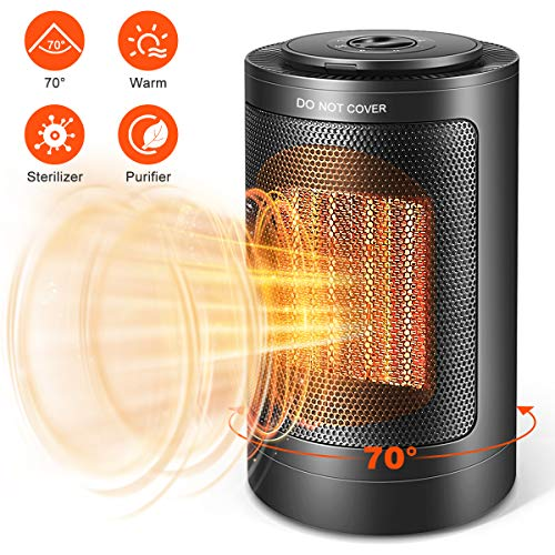 Space Heater, Indoor 750W/1500W Ceramic 3 in 1 Electric Heater, Purifier, Sterilizer, for Home/Office/Bedroom and Bathroom, Personal Desk Heater