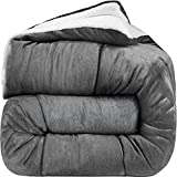 Utopia Bedding - All Season Alternative Fleece Comforter - Down Sherpa Comforter Queen - Grey