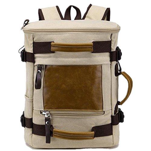 5 ALL Unisex Vintage Canvas Leder Rucksack Multi Tasche Umhängetasche Henkeltasche Schulranzen Laptoptasche Reisetasche Weekender Handgepäck wasserdicht XXL (Beige)