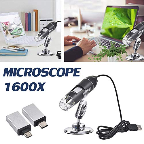 Urben Life 1600x vergroting endoscoop, 3-in-1 digitale microscoop, mini-camera met twee adapters en metalen statief, compatibel met Mac Window 7 8 10 XP Android