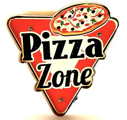 DiiliHiiri Cartello Luminoso rétro, Vintage, insegna in Metallo, Prodotto Artigianale, Accessorio per la Decorazione della casa (Pizza Zone)