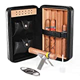 Cigar Humidor, Cigar Case, Cedar Wood Travel Portable Leather Cigar Humidor with Humidifier