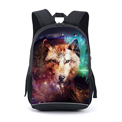 CAIWEI Animal de 17 pulgadas Diagrama de impresión mochila escolar mochila mochila (Animales5)