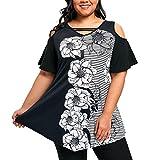 Camiseta Mujer Tallas Grandes Xinantime Camisetas Mujer Manga Corta Camisetas Mujer Verano Blusa Mujer Sport Tops Mujer Verano Camisetas Sin Hombros Mujer Camisetas Mujer Manga Corta (XXXXXL, Negro)