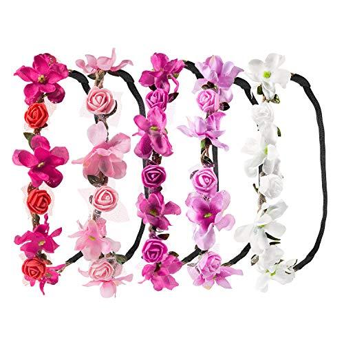 Stirnband Blumen, ZWOOS 5 Stück Stirnbänder Krone Haarband Kopfband Blume Haarbänder mit Elastischem Band für Hochzeit und Party (7)