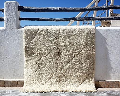 Beni Ourain 0052 Tapis berbère tissé à la main en laine vierge de qualité supérieure 107 x 134 cm