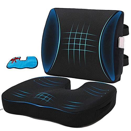 Niceeday Memory Foam Lendenwirbelstütze und Autositzkissen für Sitzkissen für Bürostühle Orthopädisches Steißbein-Rückenkissen Lendenkissen für