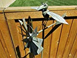 Big Sky Antiques Whimsical Wing Flapping Kinetic Metal Bird w/Glasses Yard Stake Wind Spinner Whirly-Gig Windmill Garden Art Bird