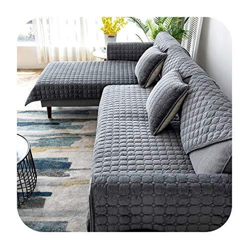 KASHINO Dicker Plüsch Sofabezug Europäischer Universal Sofa Handtuch Abdeckung Rutschfest Couch Cover Sofa Handtuch für Wohnzimmer Dekor - Grau Kissenbezug 2 Stück