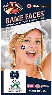 Notre Dame (ND) Fighting Irish – Waterless Peel & Stick Temporary Spirit Tattoos – 4-Piece – 2 Leprechaun Logo & 2 Navy Blue ND Logo