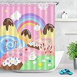 JHTRSJYTJ Karikatur-Entwurfs-Regenbogen-Kuchen-Zuckerstange Duschvorhang ist geeignet für Badezimmer,Polyester wasserdicht,12Haken,180X200cm,Wohnkultur
