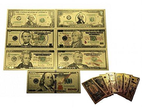 ARUNDEL SERVICES EU Hoja de Oro de 24 Kilates Billete de Banco Dinero Dólar Estadounidense 1-100 Dólar Dinero de la Hoja de Oro Juego de 7 Notas bancarias