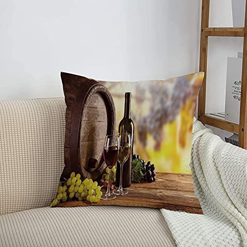 Fundas de cojines sencillas y clásicas de 45 x 45 cm,Botella de vino, vino tinto y blanco Cristal en barril de ,ideales para casa, oficina o para la espalda en el coche - Fundas de Poliéster para sofá