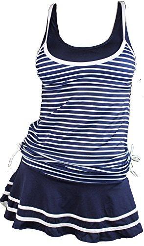 MiYang Women's Tankini Striped Vintage Swim Dress Navy XX-Large