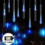 Meteor Shower Rain Lights, Adecorty Falling Rain Drop Lights 30cm 8 Tube 144 LED Snow...