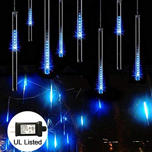 Meteor Shower Rain Lights, Adecorty Falling Rain Drop Lights 30cm 8 Tube 144 LED Snow Falling Dripping Icicle String Lights Blue for Christmas Halloween Wedding Party Outdoor Decor (UL Certified Plug)