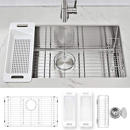 Modena Undermount Kitchen Sink Set, 16-Gauge Stainless Steel (30-Inch Single Bowl)
