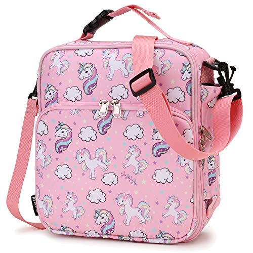 Lunch Bag for GirlsRAVUO Insulated Lunch Box for Kids Cute Unicorn Reusable Lunch Tote with Detachable Shoulder Strap and Buckle Handle