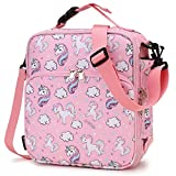 Lunch Bag for Girls,RAVUO Insulated Lunch Box for Kids Cute Unicorn Reusable Lunch Tote with Detachable Shoulder Strap and Buckle Handle